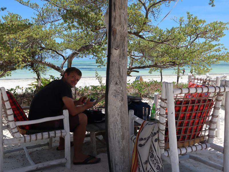 Day trip enjoying a beer at Bwejuu Beach
